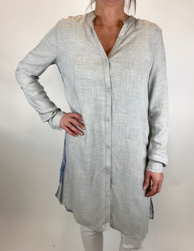 Sinuous Sinuous Linen Tunic Back Print Grey