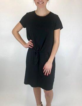 Mod-o-doc Mod-o-doc S/S T Shirt Dress Tie Front Black