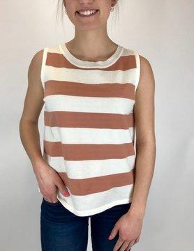 Hem & Thread Hem & Thread Tank Color Blk Peach/Wht