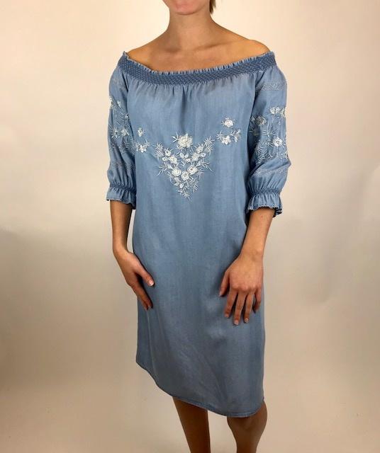 Esqualo Esqualo Embroidered Dress Blue 16200