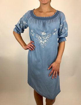 Esqualo Esqualo Embroidered Dress Blue