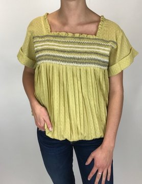 Mystree Mystree Sp Smocking Woven Top Mustard