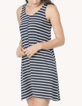 Lilla P Lilla P Long Peplum Dress Ink Stripe