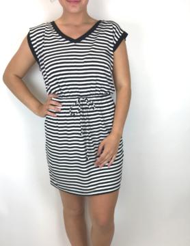 Z Supply Z Supply Striped Shirred Dress Black