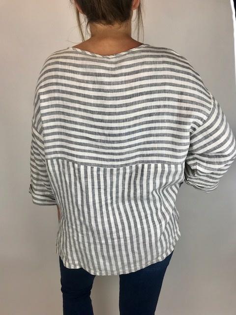 XCVI XCVI Striped Blouse Tstd Alm 13570