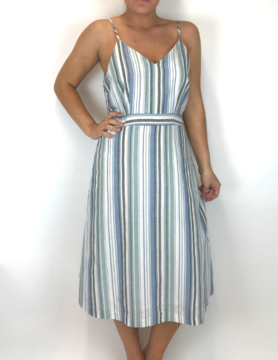 mittoshop Mittoshop Multi Vert Stripe Midi Dress Blue