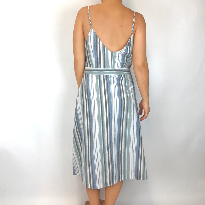 mittoshop Mittoshop Multi Vert Stripe Midi Dress Blue J41761
