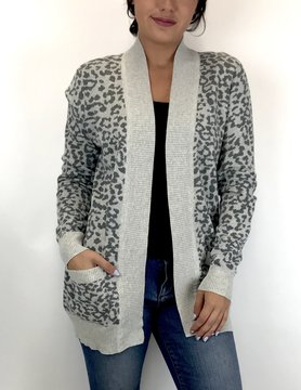 Staccato Staccato Leopard Open Pkt Cardi Gry