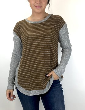 Mystree Stripe Blush L/S H Gry/Brn 17840
