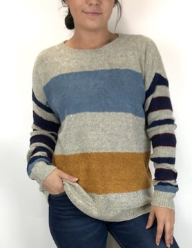 Staccato Staccato Crew Stripe P/O Sweater Grey/Blue