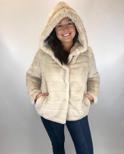 Esqualo Esqualo Fake Fur Hood Jkt Beige 33510