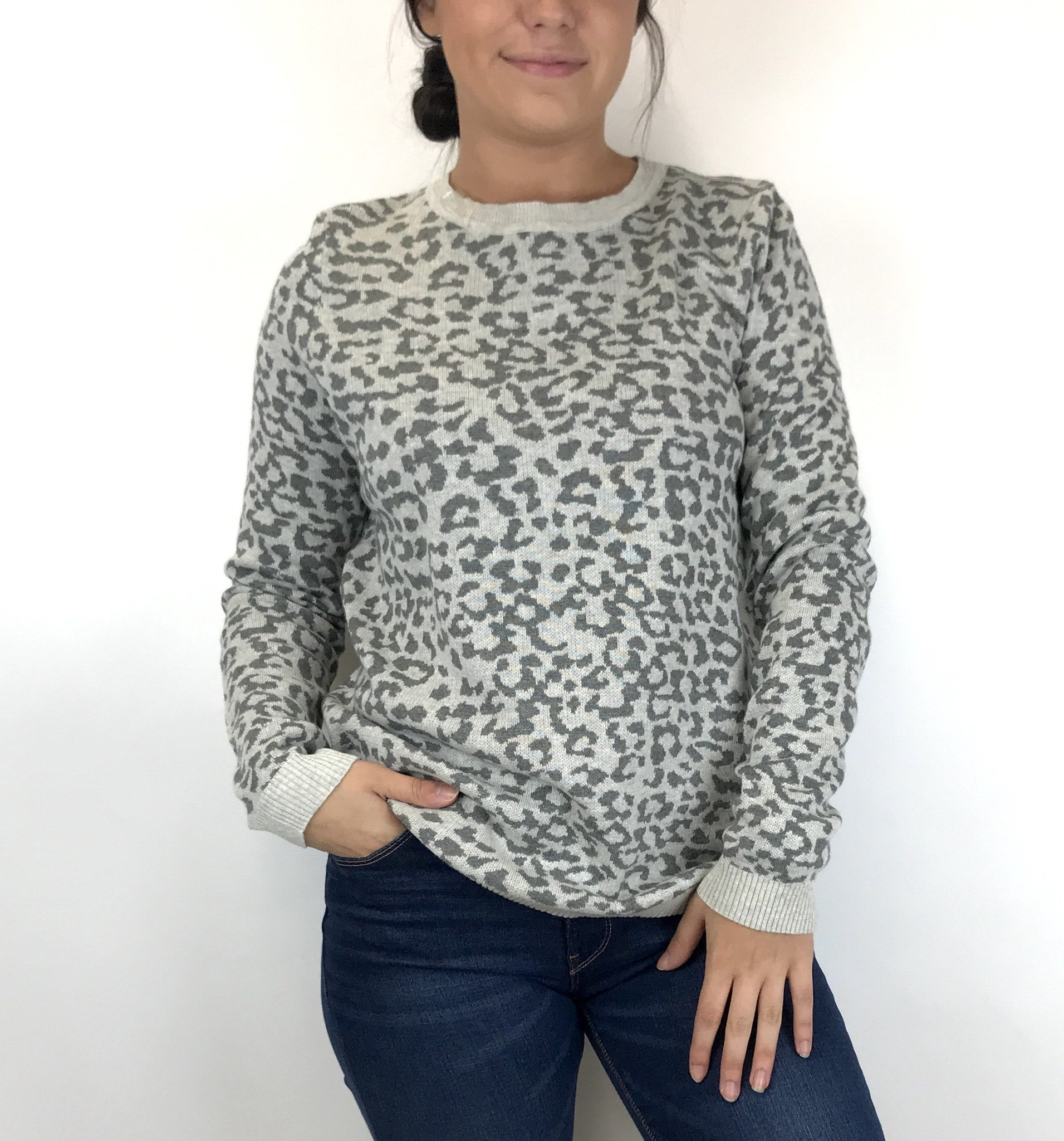 Staccato Staccato Leopard Crew P/O Swtr Gry 52274