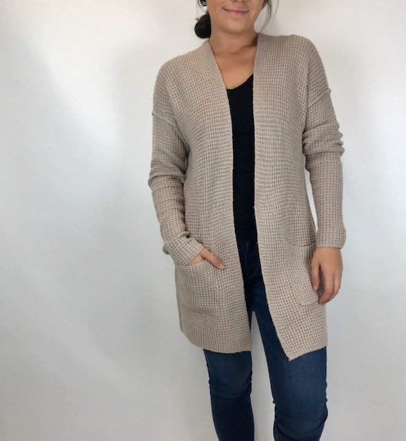 Staccato Staccato Pkt Waffle Cardi Taupe 52068C