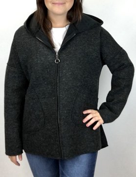 M Made In Italy M Made in Italy Woven L/S Felt Coat Blk 27/562L