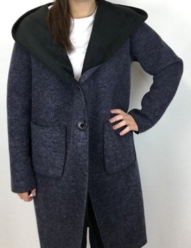 M Made In Italy M Made in Italy Woven L/S Felt Hood Coat Nvy 27/580L
