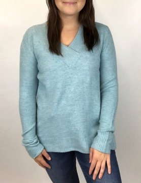 Staccato Staccato Wide Rib Light Blue V-Neck Sweater