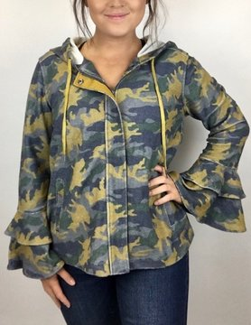 Mystree Mystree Navy/Mustard Camo Zip Up Top