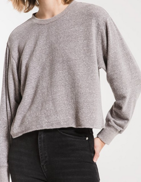 Z Supply Z Supply Trim L/S Crop T Heather Gry