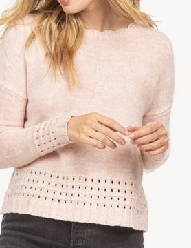 Lilla P Lilla P Scalloped Crew Blush