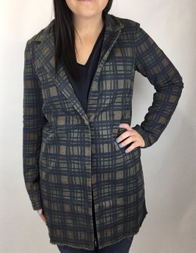 Baci & Amici Baci Plaid Button Blazer Olive