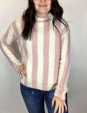 Hem & Thread Hem & Thread Turtle Neck Stripe L/S Sweater Blush Pink