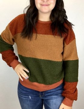 Hem & Thread Hem & Thread Teddy Sweatshirt Rust/Tpe/Olv