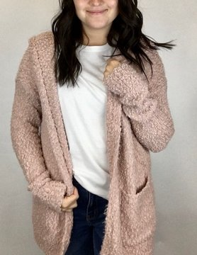 Staccato Staccato Fuzzy Open Hoodie Cardi Mauve
