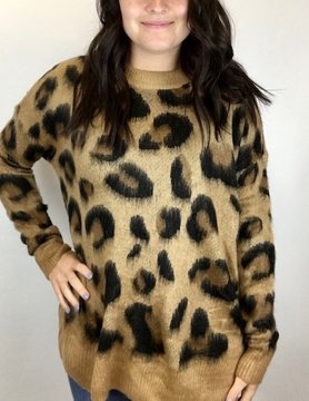 Staccato Staccato Brushed Leopard Crew Sweater Carmel/Brwn