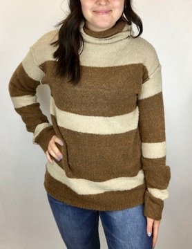 Hem & Thread Hem & Thread Turtle Neck Stripe Sweater Brn/Dk Tpe