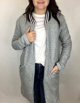 Hem & Thread Hem & Thread Stripe Fleece Coat H Gry