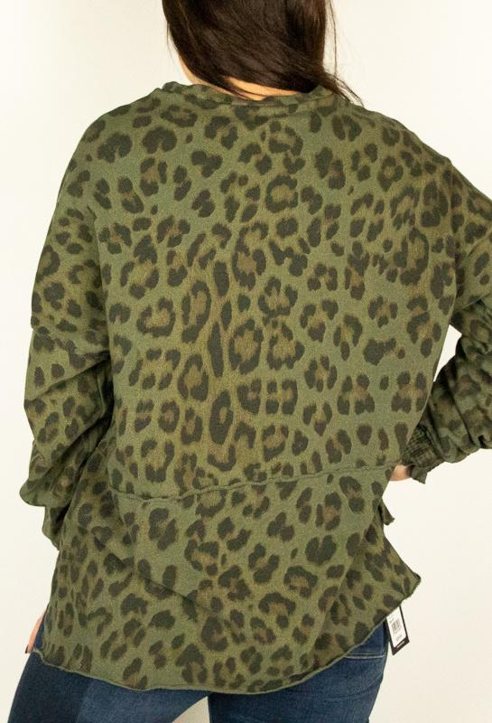 Baci & Amici Baci Leop Stitch Olive Swtshrt 9187303P