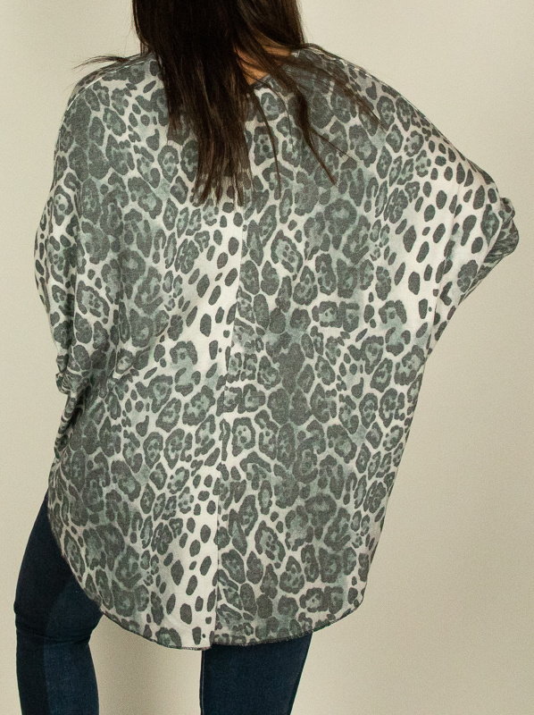 M Made In Italy M Made in Italy Knit L/S Animal Tun Gry 20/9793L