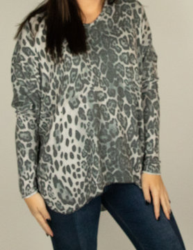 M Made In Italy M Made in Italy Knit L/S Animal Tunic Gry