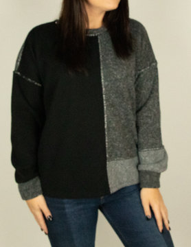 M Made In Italy M Made in Italy Knit L/S Contrast Top