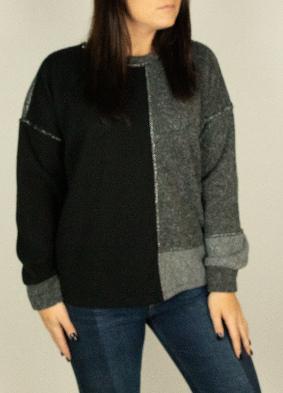 M Made In Italy M Made in Italy Knit L/S Contrast Top 10/1532L