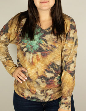 Nally & Millie Nally & Millie Tie Dye V Neck