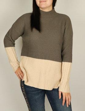 Esqualo Esqualo 2 Color Rib Sweater Tpe