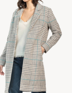 Lilla P Lilla P Car Coat Tan Plaid