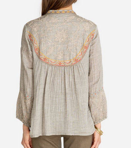 Johnny Was Johnny Was Chai Paris Effortless Blouse Moss W13519-D