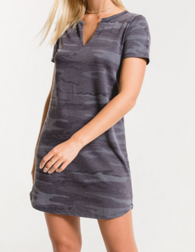 Z Supply Z supply Camo Split Neck Dress Drk Blue