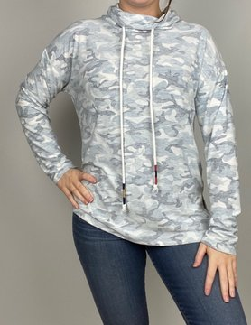 Hem & Thread Hem & Thread Soft Camo Print Cowl Neck