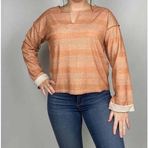 Hem & Thread Hem & Thread Tex Stripe Oversize Crop Rust/Wht