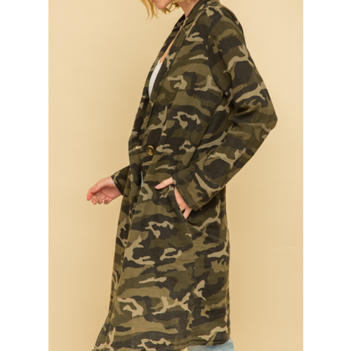 Mystree Mystree Acid Wash Long Coat Camo 17960C