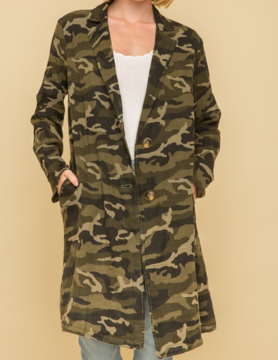 Mystree Mystree Acid Wash Long Coat Camo