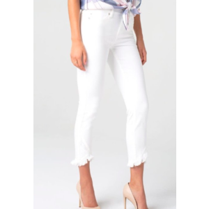 Liverpool Liverpool Abby Crop Scallop Wht LM7133QY-W