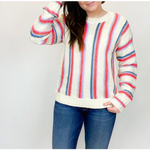 Hem & Thread Hem & Thread Roundneck Stripe Swtr Red Combo