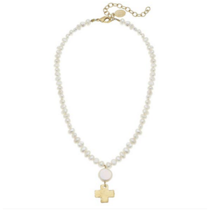 Susan Shaw Gold Cross Pearl Necklace