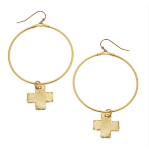 Susan Shaw Gold Cross and Hoop Earring