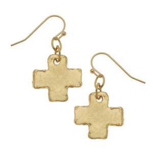 Susan Shaw Gold Cross Earring