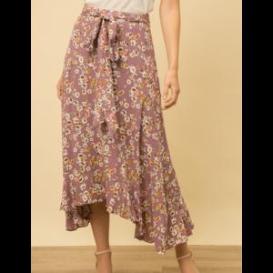 Mystree Mystree Ditsy Print Wrap Skirt Lavender